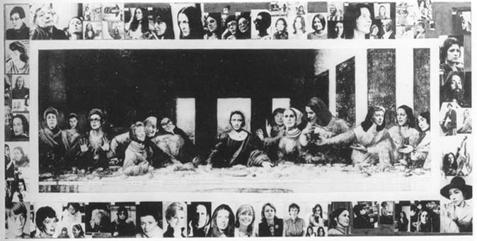 La Cène (Last Supper), 1972 | Collage de Mary Beth Edelson, représentant plus de quatre-vingts femmes artistes contemporaines